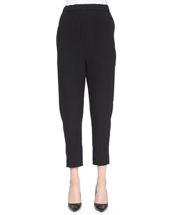 Silk Slouchy Ankle Pants, Black