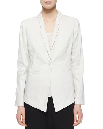 One-Button Ramie Stretch Jacket, Silk Crepe de Chine Tank & Silk Slouchy ...