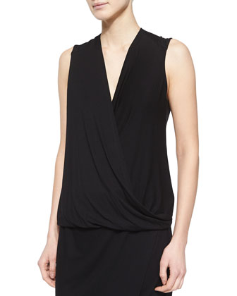Drapey-Front Sleeveless Top