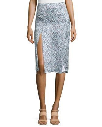 Floral-Print Silk Skirt, Blue