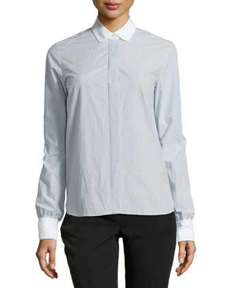 Long-Sleeve Poplin Blouse, Blue