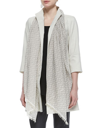 Polished Ramie Long Jacket, Fil Coupe Dotted Scarf & Stretch-Crepe Ankle ...