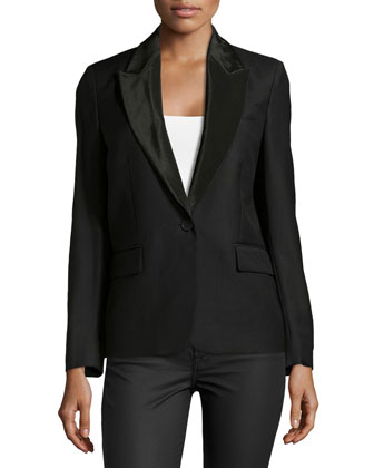 Satin-Lapel One-Button Blazer