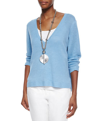 Deep-V Box Organic Linen Top, Women's