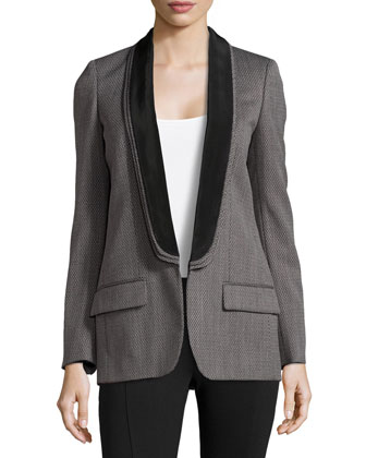 Triple-Lapel Woven Tuxedo Jacket
