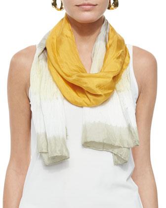 Long-Sleeve Organic Linen Box Top & Silk Shibori Borders Scarf, Petite