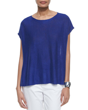Short-Sleeve Box Linen High-Low Top