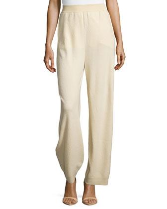 Wide-Leg Crepe Trousers, Cream