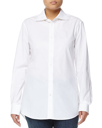 Poplin Button-Front Blouse, White