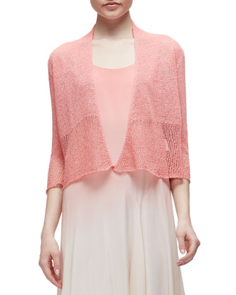 Mini Tape Short Cardigan, Coral, Women's