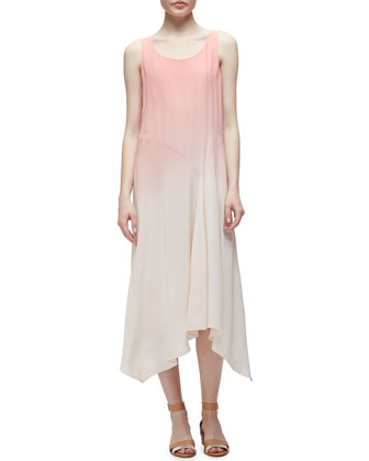 Mini Tape Short Cardigan & Ombre Silk Long Dress, Women's