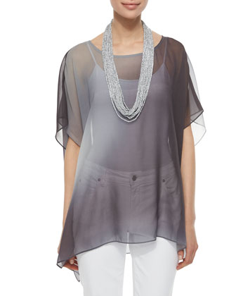 Watercolor Sheer Tunic, Drapey Metallic Necklace & Stretch Boyfriend Jeans, ...
