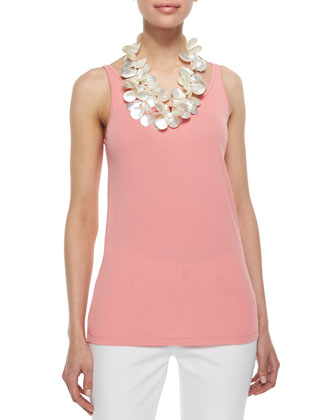 Stretch Silk Long Cami, Coral, Women's