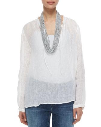 Long-Sleeve Windowpane Gauze Top, Drapey Metallic Necklace & Stretch ...