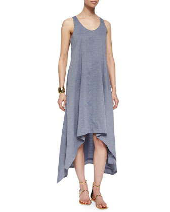 Fisher Project Sleeveless Chambray Trapeze Dress
