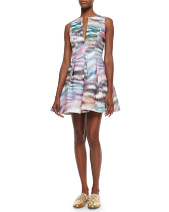 Matthew Pleated Printed Twill Dress