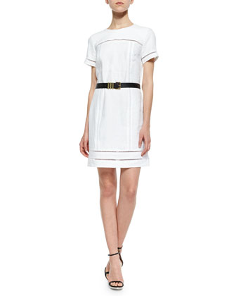 Linen Ladder Shift Belted Dress