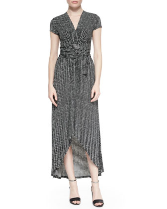 Nezla Cap-Sleeve Dot-Print Wrap Dress