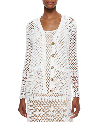 Long-Sleeve Button-Front Crochet Cardigan & Dress