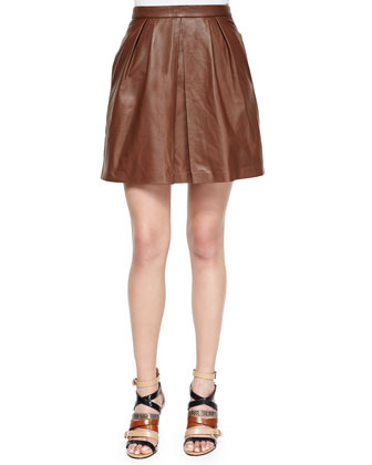 Sheepskin Leather Pleated Skirt