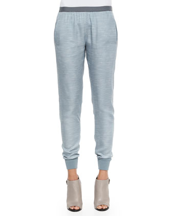 Chambray Knit-Trim Jogger Pants