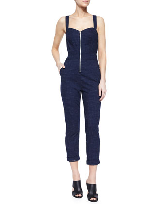 Zip-Front Sweetheart Playsuit, Indigo Linen Runway Denim