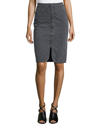 Stretch-Knit Quilted Knee-Length Skirt