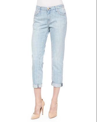The Fling Cropped Ankle Jeans, Discharge Gingham