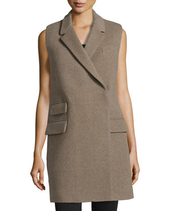 Sleeveless Wool-Blend Woven Coat
