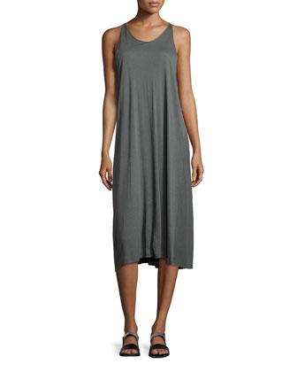 Slub-Knit Knee-Length Dress, Gray