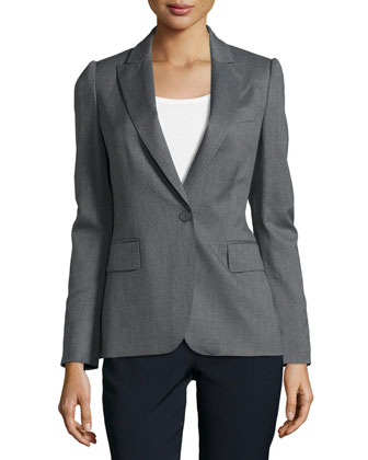 Woven V-Neck Blazer Jacket