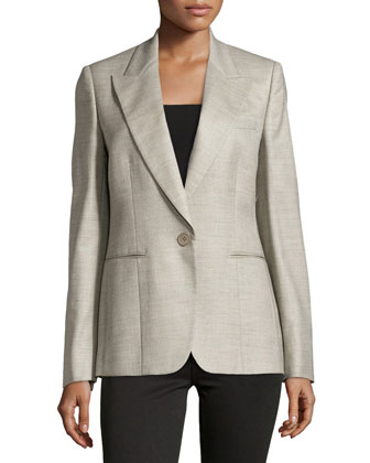 Wool V-Neck Blazer, Gray
