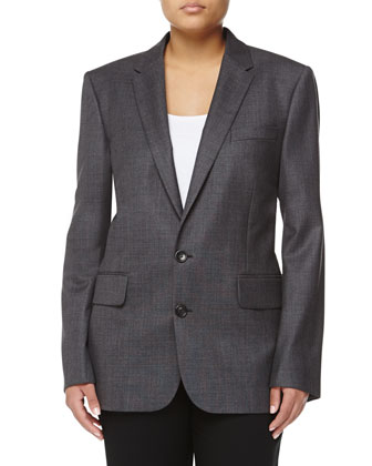 Wool Two-Button Jacket, Gray