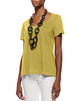Short-Sleeve Organic Linen Lucky Tee, Women's