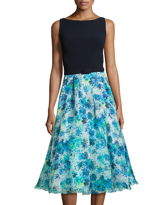 Jersey & Chiffon Combo Dress, Aqua