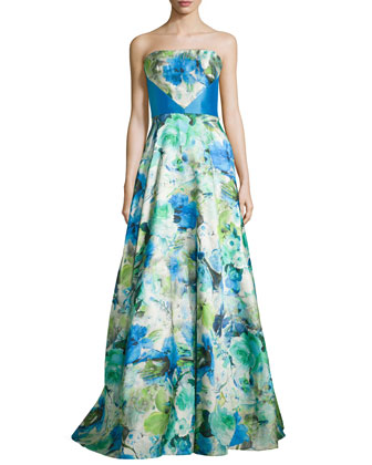 Strapless Floral Ball Gown, Azure