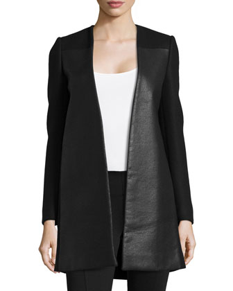 Open-Front Wool-Blend Coat, Black