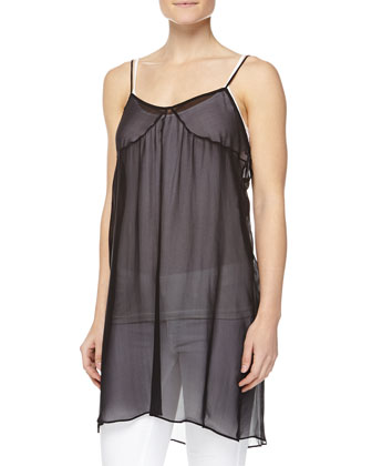 V-Neck Silk Slip Dress, Black