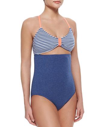 Sporty Blues Striped One-Piece Swimsuit