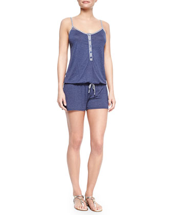 Sporty Blues Striped Short Jumpsuit