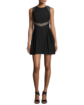 Stretch-Knit A-Line Dress, Black