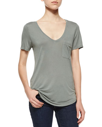 Lynnea Short-Sleeve Jersey Tee, Sea Moss