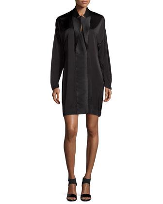 Long-Sleeve Satin Shift Dress, Black