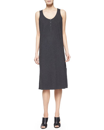 Hemp Twist Henley Tank Dress, Graphite, Petite