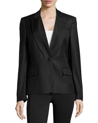 Wool V-Neck Blazer Jacket