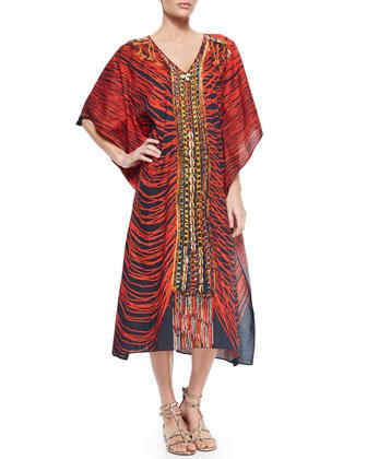 Eliza Printed Beaded Caftan Coverup & Large Tuk Tuk Tote