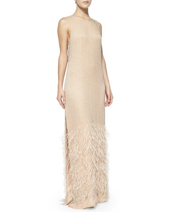 Ryland Sleeveless Beaded Gown W/ Feather Hem