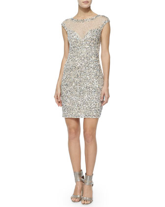 Montclair Cap-Sleeve Beaded Dress