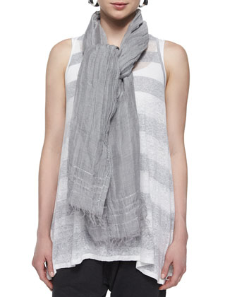 Striped Long Tank, Organic Cotton Slim Tank, Iridescent Striped Scarf & ...