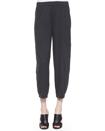 Wide-Leg Ankle Hemp Twist Pants, Graphite, Petite